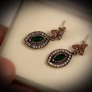 MARQUISE EMERALD FINE ART EARRINGS Solid 925/Gold
